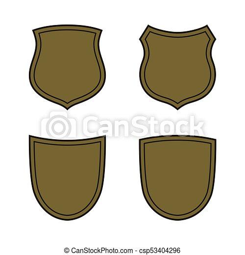 Shield Shape Bronze Icons Set Simple Flat Logo On White Background