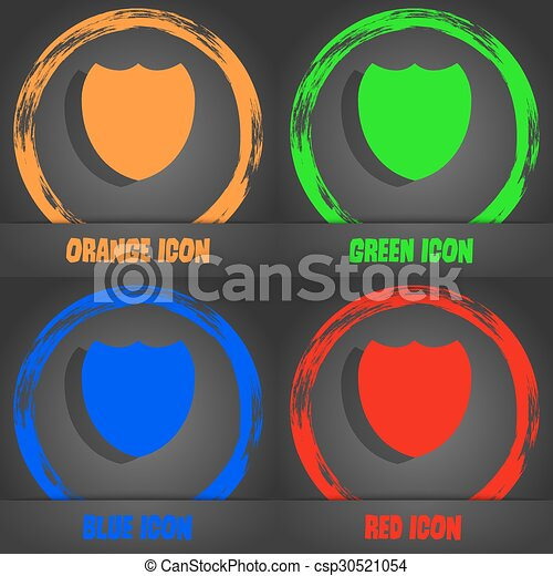 Shield sign icon. Protection symbol. Fashionable modern style. In the orange, green, blue, red design. Vector - csp30521054