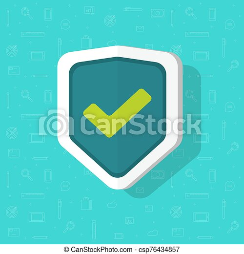 Shield vector icon flat cartoon isolated symbol with check mark, concept of protection or safety logo clipart - csp76434857