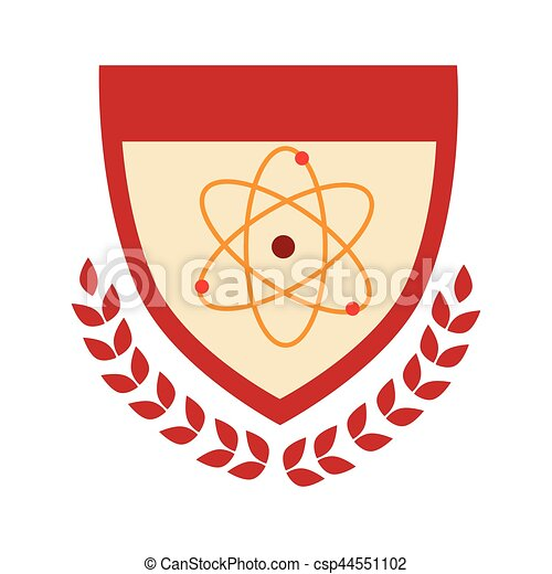 Shield With Arch Of Leaves And Atom Structure
