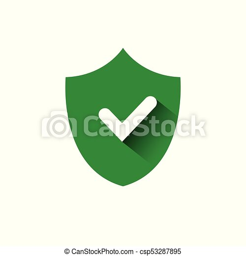 Shield With Check Mark Green Icon Protection And Security Concept - csp53287895