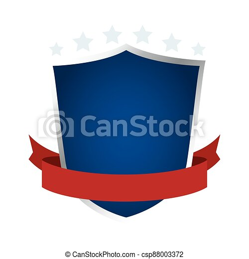 shield with ribbon emblem icon - csp88003372
