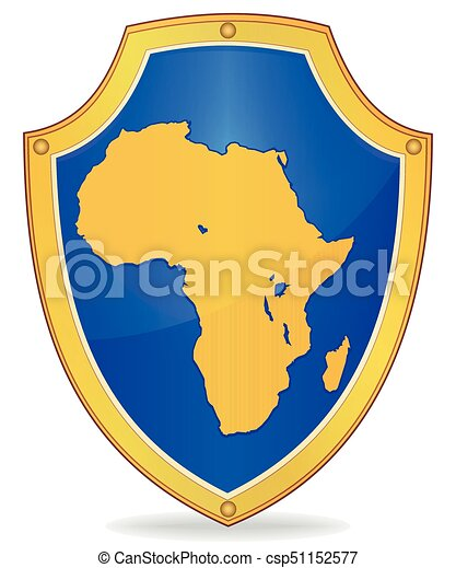 Shield with silhouette of Africa