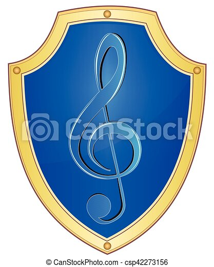 Shield with treble clef - csp42273156