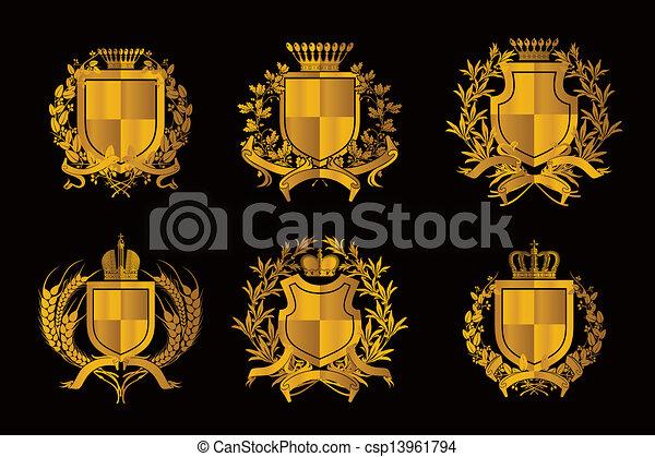 Shields, set of Design Elements - csp13961794