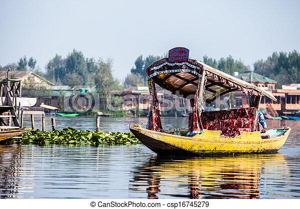 Shikara boat in Dal lake , Kashmir India - csp16745279