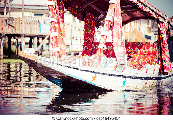 Shikara boat in Dal lake , Kashmir India  - csp16495454