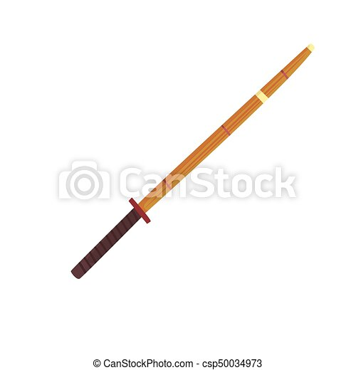 Shinai, bamboo sword, kendo equipment cartoon vector Illustration