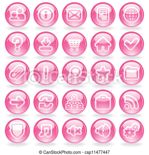 Shine Pink Glass Buttons - csp11477447