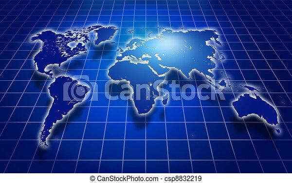 Shining blue world map over dark background stock illustration shining blue world map over dark csp8832219 gumiabroncs Gallery