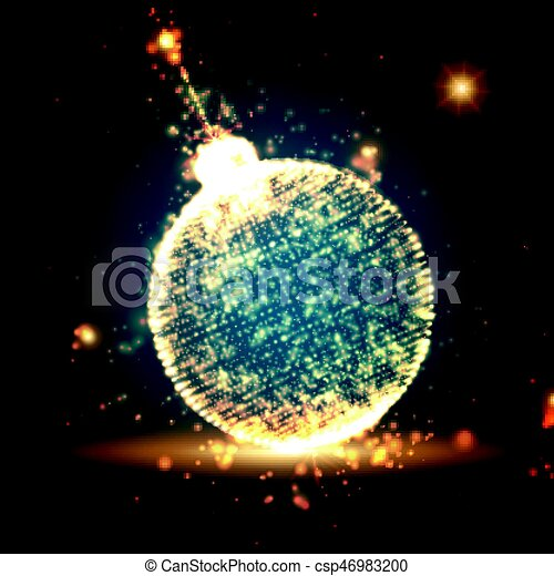 shining christmas ball on the blue background with glowing particles flying around abstract vector new year background elegant background for invitaions
