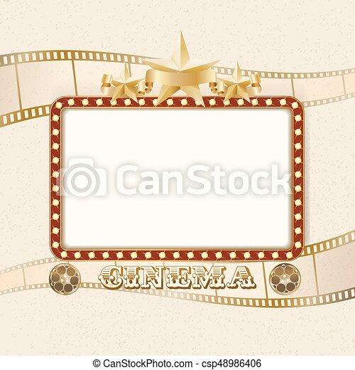 Retro Frame With Lights Stars Ribbon Reels Filmstrip