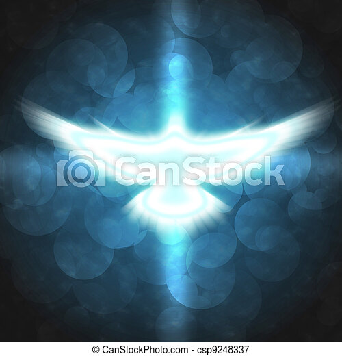 shining dove with rays on a dark - csp9248337