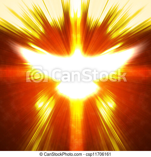 shining dove with rays on a dark - csp11706161