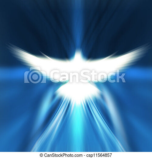 shining dove with rays on a dark - csp11564857