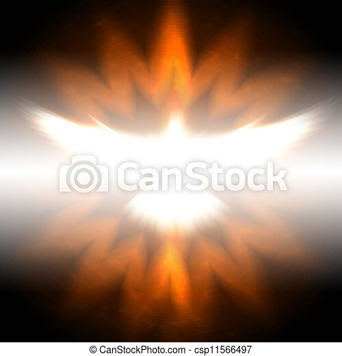 shining dove with rays on a dark - csp11566497