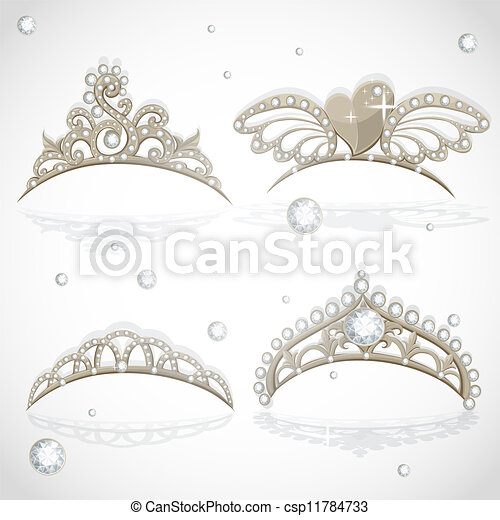 Shining gold girls tiaras set - csp11784733