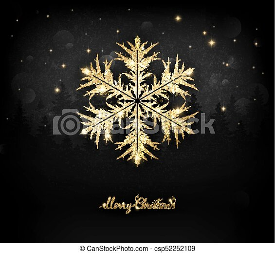shining gold texture snowflake on the black shining gold texture