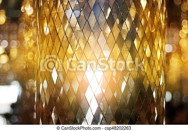 Shining golden mosaic glass background - csp48202263