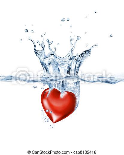 Shining heart, splashing into clear water. - csp8182416