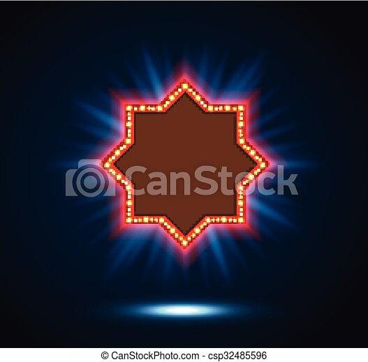 Shining spotlight on billboard sign - csp32485596