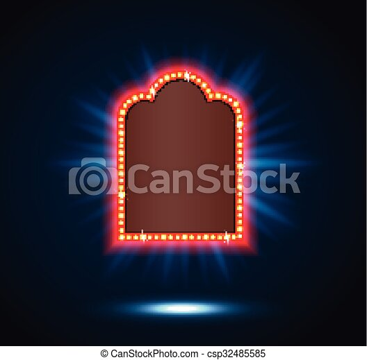 Shining spotlight on billboard sign - csp32485585