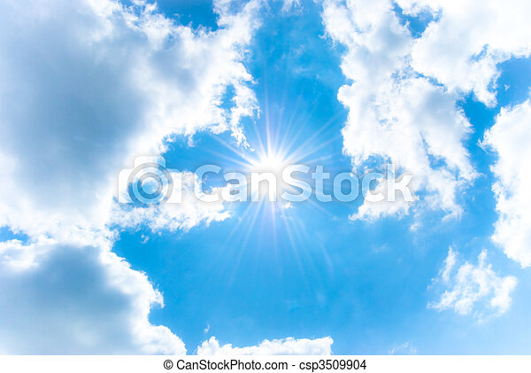 Shining sun among the blue sky and white clouds - csp3509904