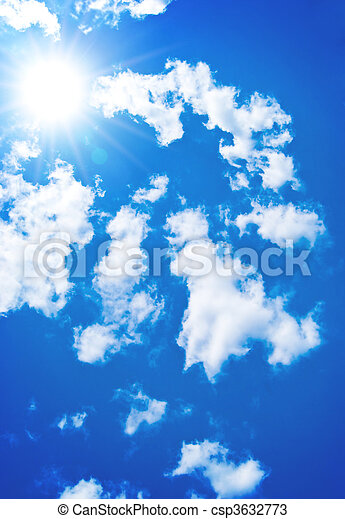 Shining sun among the blue sky and white clouds - csp3632773