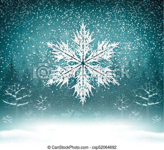Holiday Christmas Background.Shining White Texture Snowflake On The Blue Forest Landscape