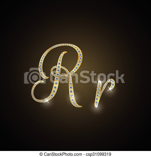 "Shiny alphabet ""R"" of gold and diam - csp31099319"
