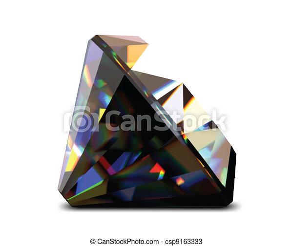 Shiny and bright black diamond. Vector - csp9163333