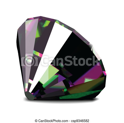 Shiny and bright diamond on a white background. Vector - csp9346582