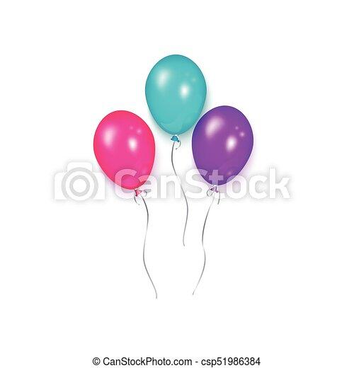 Shiny balloon birthday party decoration element Three vector