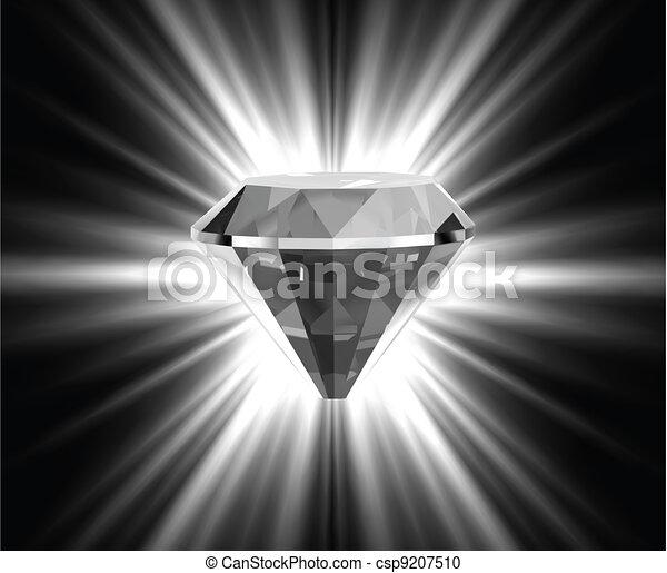 Shiny bright diamond. Vector - csp9207510