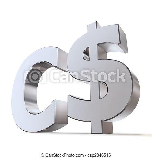 Shiny Canadian Dollar Symbol Shiny Metal Canadian Dollar Sign
