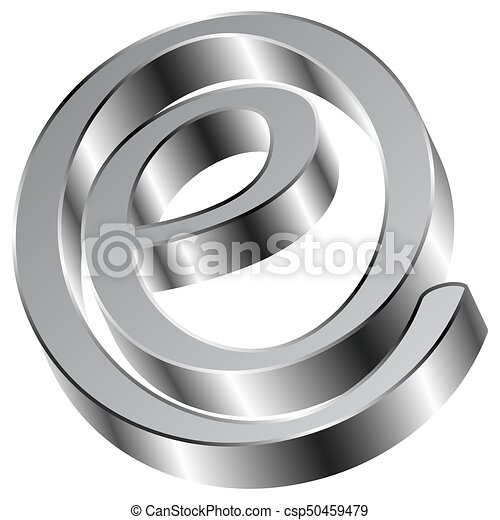 Shiny Chrome E Sign email Symbol - csp50459479