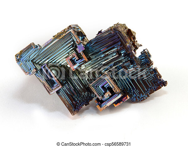 Shiny colorful mineral bismuth on a dark background - csp56589731