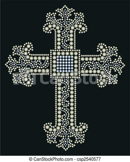 shiny cross stone beaded design  - csp2540577