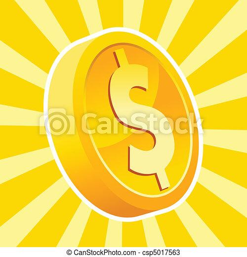 Shiny gold coin - csp5017563