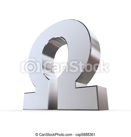 Shiny greek letter omega Shiny metallic greek upper 3d clipart