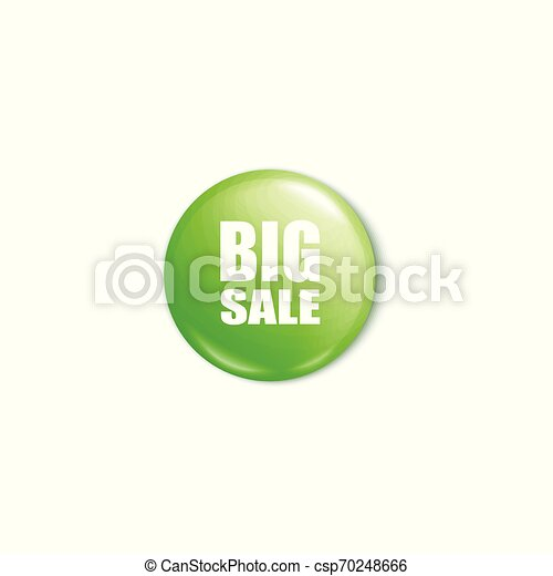 Shiny green big sale button 3d realistic vector illustration mockup isolated. - csp70248666