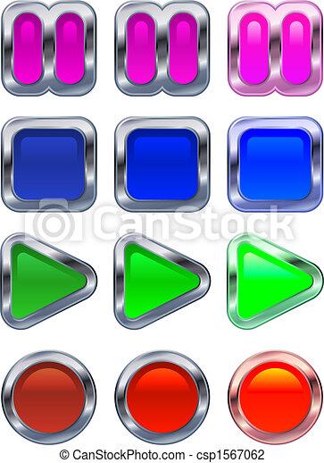 Shiny metallic glowing control panel buttons - csp1567062