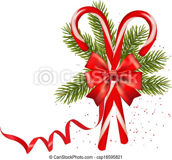 Shiny red Christmas candy cane with bow. Vector illustration. - csp16595821