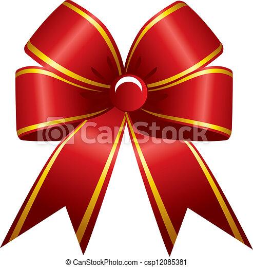 Shiny red ribbon - csp12085381