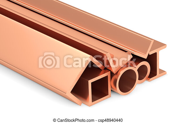 Shiny rolled copper metal products on white. - csp48940440