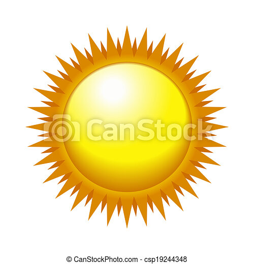 Shiny Sun in the Light Sky. Vector - csp19244348