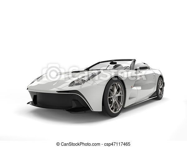 Shiny White Modern Sports Car   Isolated On White Background   Csp47117465