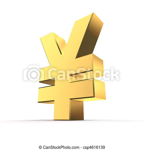 Shiny Yen Symbol Gold Shiny Metal Yen Currency Sign Made Of Gold