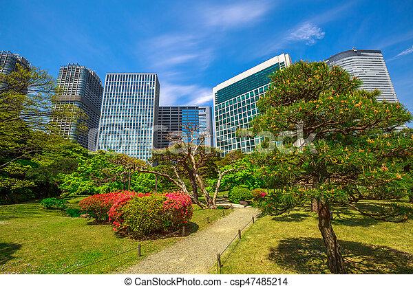 Shiodome buildings in hamarikyu gardens. Hamarikyu gardens, tokyo ...
