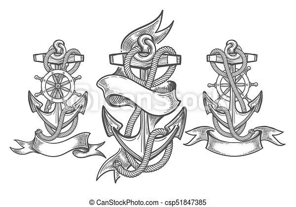 Ship Anchor Tattoo Set Hand Drawn Anchor Set Three Anchors With